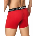 Xtremen Microfiber Bold Long Boxer Red With Black Waistband